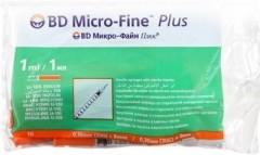 Шприц инсул. Микро-Файн Плюс 1мл U-100 (0,30x8мм) 30G №10