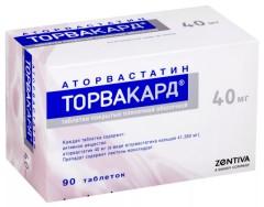 Торвакард таблетки п.о 40мг №90