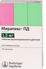 Мирапекс ПД таблетки пролонг. 1,5мг №30