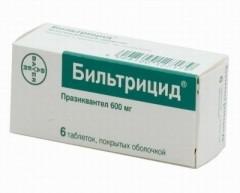 Бильтрицид таблетки п.о 600мг №6