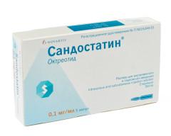 Сандостатин раствор внутривенно и п/к 0,1мг/мл 1мл №5