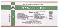 Эуфиллин раствор д/ин.амп. 2,4% 10мл №10