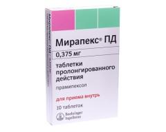 Мирапекс ПД таблетки пролонгированные 0,375мг №10