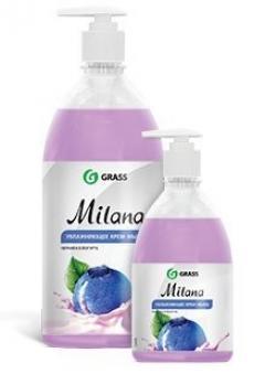 Милана крем-мыло жидкое Черника в йогурте (дозатор) 1л