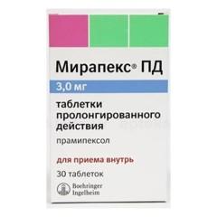 Мирапекс ПД таблетки пролонгированные 3мг №30