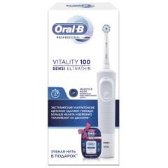 Орал Би зубная щетка электрическая Виталити D100 + зубная нить Про Эксперт Клинлайн 25м