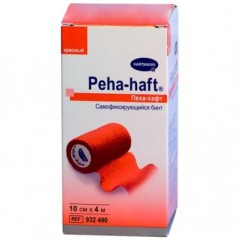 Хартманн Пеха хафт Бинт самофикс. красный 4мх10см (932490)