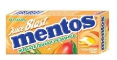 Ментос жевательные резинка Джус бласт Тропики
