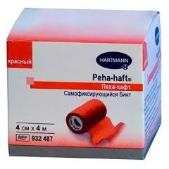 Хартманн Пеха хафт Бинт самофикс. красный 4мх4см (932487)